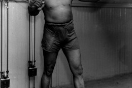 """**FILE** Boxer Jack Johnson is shown working out in New York City in this 1932 file photo at the age of 54. Johnson's largely unknown 1911 musings to a French sports magazine, including candid observations on racism likely never intended for American readers, have been translated to English in their entirety for the first time in the new autobiography """"My Life & Battles.""""  (AP Photo, File)"""