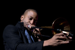 """Troy """"Trombone Shorty"""" Andrews performs during the National Christmas Tree Lighting ceremony at the Ellipse in Washington, Thursday, Dec. 3, 2015. (AP Photo/Carolyn Kaster)"""