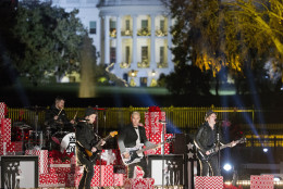Members of the band Fall Out Boy perform on stage during the National Christmas Tree Lighting ceremony at the Ellipse in Washington, Thursday, Dec. 3, 2015. (AP Photo/Pablo Martinez Monsivais)