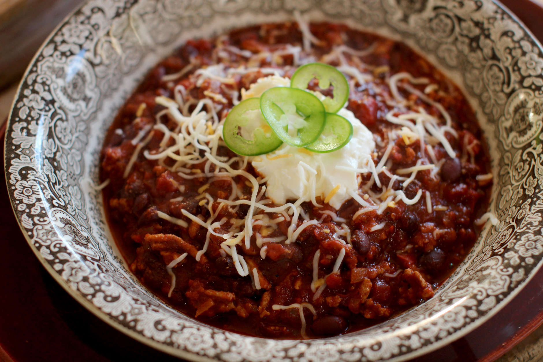 This Nov. 16, 2015 photo shows game day turkey chili in Concord, NH. Everyone has a favorite chili recipe, and this is the time of year to break out yours, invite some friends over and yell at some football players on TV. (AP Photo/Matthew Mead)