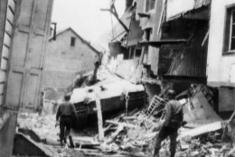 King Tiger German tank ran against a building in an unnamed Belgium town on Dec. 26, 1944 where it was knocked out of action. (AP Photo)