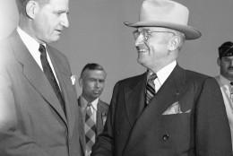 Florida Gov. Millard Caldwell welcomes U.S. President. Harry S. Truman to Everglades City,  Fla. Dec 6,  1947 for the formal dedication of the Everglades National Park.(AP Photo)