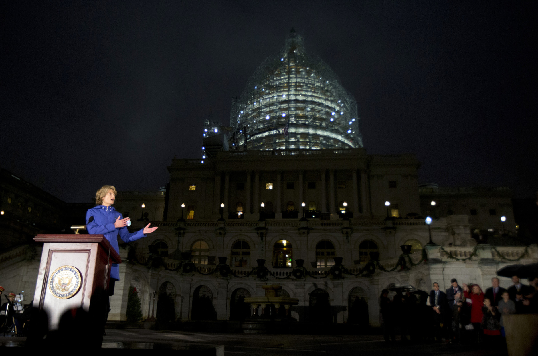 Sen. Lisa Murkowski, R-Alaska, speaks during the lighting of the U.S. Capitol Christmas tree, on the West Front of the Capitol in Washington, Wednesday, Dec. 2, 2015. The 2015 U.S. Capitol Christmas Tree is a 74 feet Lutz tree from Chugach National Forest in Alaska.   (AP Photo/Manuel Balce Ceneta)