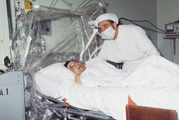 Heart transplant surgeon Dr. Christiaan Barnard is shown after performing the first heart transplant on patient Louis Washkansky on December 3, 1967 in Cape Town, South Africa.  Barnard headed a medical team that removed the heart of a 24-year-old woman who died in an auto accident and replaced the diseased heart of the dying 55-year-old businessman Washkansky. (AP Photo)