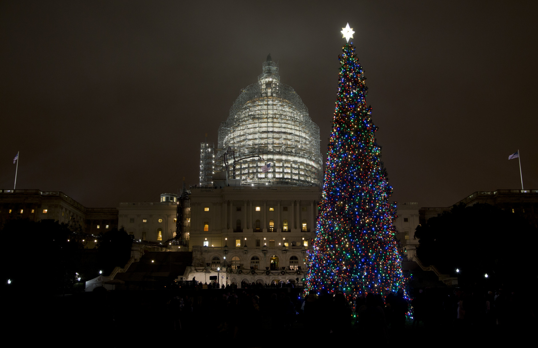 The U.S. Capitol Christmas tree is lit, after a ceremony on the West Front of the Capitol in Washington, Wednesday, Dec. 2, 2015. The 2015 U.S. Capitol Christmas Tree is a 74 feet Lutz tree from Chugach National Forest in Alaska.   (AP Photo/Manuel Balce Ceneta)