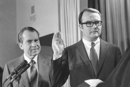 William D. Ruckelshaus is sworn in as administrator of the new Environmental Protection Agency with President Richard Nixon behind him in the White House ceremony in Washington on Dec. 4, 1970. (AP Photo/Charles Tasnadi)