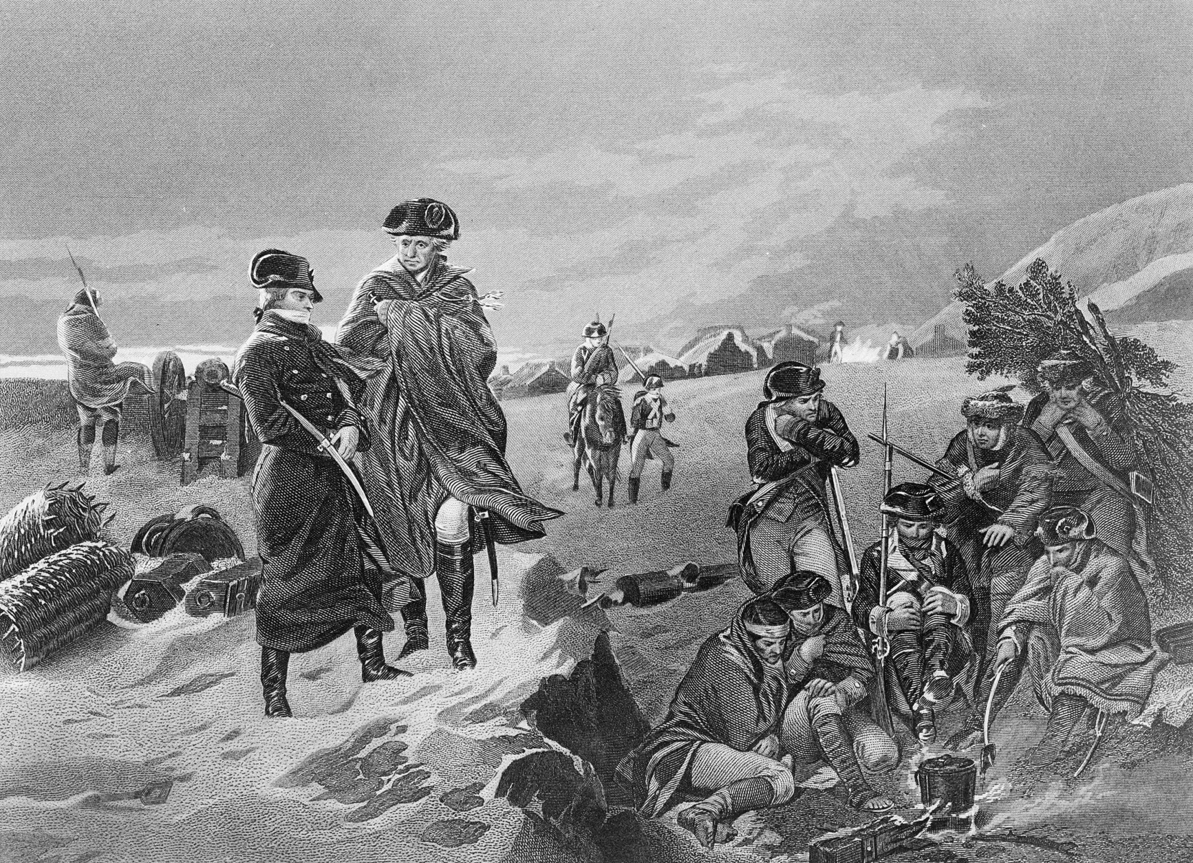 This drawing shows French military leader Marquis de Lafayette, left, as he stands by the side of General George Washington at Valley Forge encampment of the Continental Army during the winter of 1777-78.  (AP Photo)