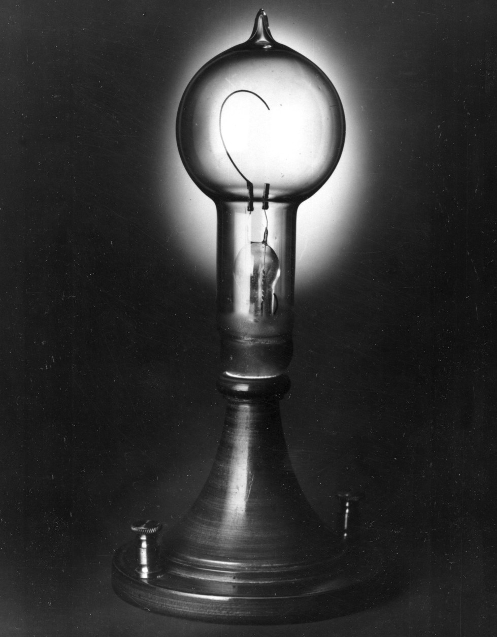 Thomas Edison's incandescent lamp, the first practical light bulb, was developed in 1879.  Edison used carbonized bamboo for the filament.  (AP Photo)