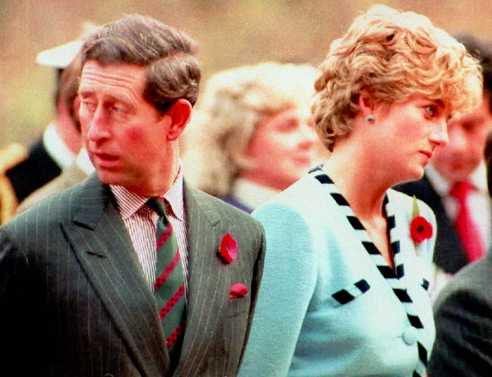 FILE--Britain's Prince and Princess of Wales are seen at a memorial service during their tour of Korea in this November 3, 1992 file photo. The world may be watching when the royal divorce becomes final Wedensday, August 28, 1996, but Charles and Diana will be as far apart as they were in the bad old days of their marriage. He will be secluded in Scotland and she will be at a charity lunch in London. (AP Photo)
