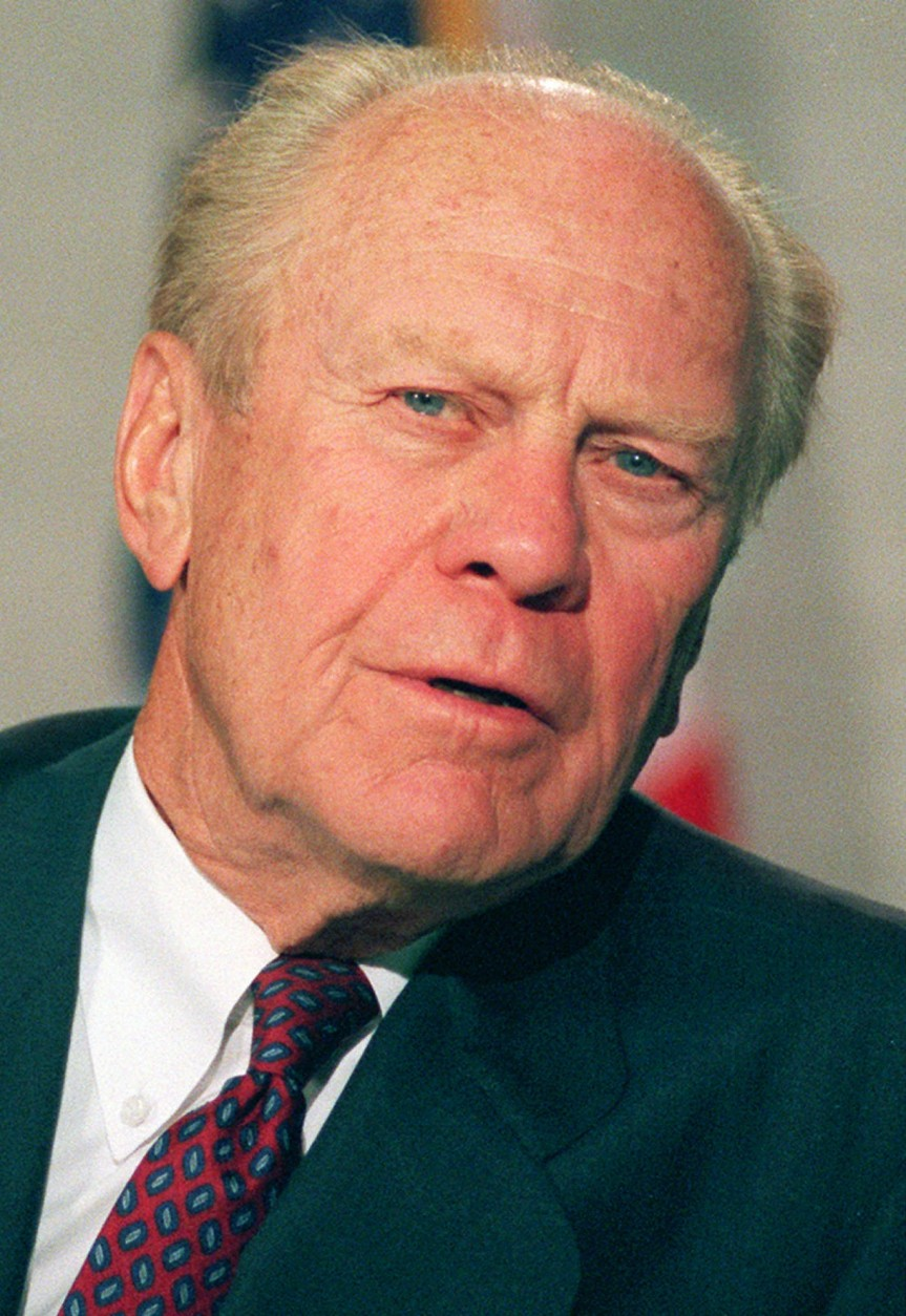Former president Gerald Ford speaks in reaction to the death of former president Richard M. Nixon during a news conference at the Annenberg Center in Rancho Mirage, Calif. April 23, 1994. (AP Photo/Eric Draper)