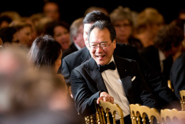 Chinese American cellist Yo-Yo Ma arrives at the 2015 Kennedy Center Honors reception in the East Room of the White House, Sunday, Dec. 6, 2015, in Washington. The 2015 Kennedy Center Honors Honorees are singer-songwriter Carole King, filmmaker George Lucas, actress and singer Rita Moreno, conductor Seiji Ozawa, and actress Cicely Tyson. (AP Photo/Andrew Harnik)