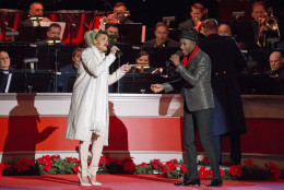 Singers Andra Day, left, and Aloe Blacc, right, perform onstage during the National Christmas Tree Lighting ceremony at the Ellipse in Washington, Thursday, Dec. 3, 2015. (AP Photo/Pablo Martinez Monsivais)