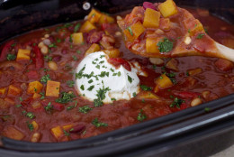This Sept. 29, 2014 photo shows smoky slow cooker vegetarian chili in Concord, N.H. No browning or other pots needed for this dump-and-go vegetarian chili that truly takes just 10 minutes to assemble. (AP Photo/Matthew Mead)