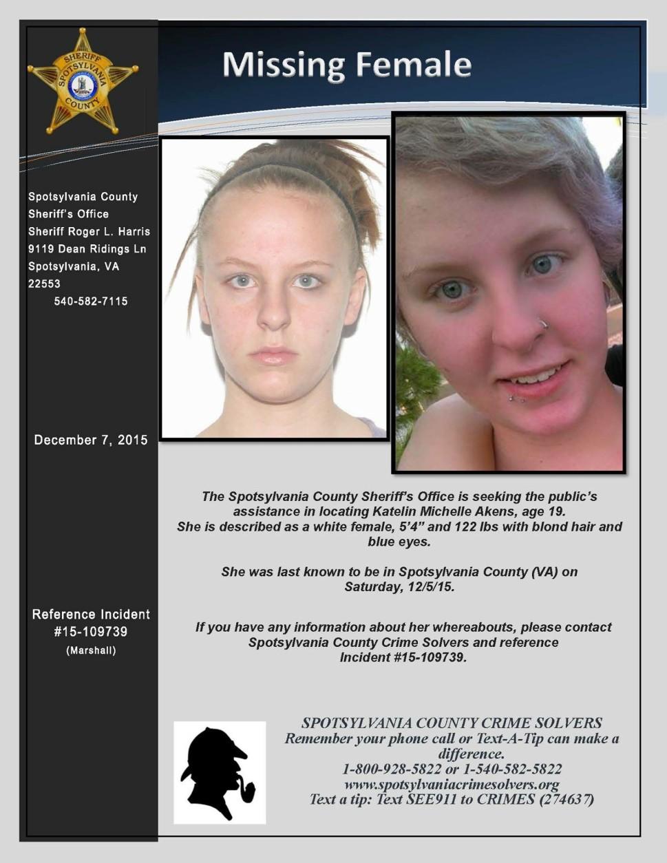 Katelin Akens, 19, Missing Since December 5, 2015 - Spotsylvania County, VA Akens.Flyer_.1-969x1254