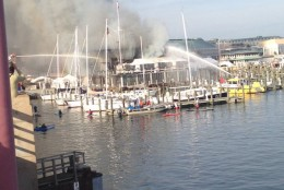 Fire crews battled a blaze at Annapolis Yacht Club on Saturday, Dec. 12, 2015. (Annapolis Professional Fire Fighters IAFF local 1926 via Twitter)