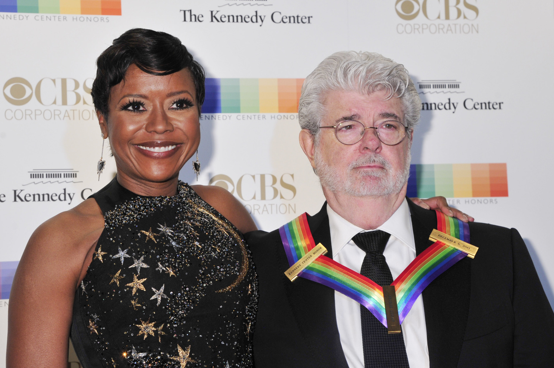 WASHINGTON, DC - DECEMBER 06: Honoree George Lucas and Mellody Hobson arrive at the 38th Annual Kennedy Center Honors Gala at the Kennedy Center for the Performing Arts on December 6, 2015 in Washington, DC.  (Kris Connor/Getty Images)