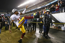 PHILADELPHIA, PA - DECEMBER 26: DeSean Jackson #11 of the Washington Redskins celebrates a 38-24 win over the Philadelphia Eagles in a football game at Lincoln Financial Field on December 26, 2015 in Philadelphia, Pennsylvania. (Photo by Rich Schultz /Getty Images)