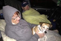 """Larry and Pat Moody say traffic late Sunday into the early hours of Monday was fairly light between Scarborough, Maine, and Dale City, Virginia. The couple and dog Bailey are destined for North Carolina to """"just relax"""" with family. (WTOP/Kristi King)"""