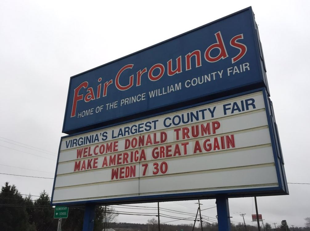 The Dec. 2, 2015 rally was held at the Prince William County Fairgrounds in Manassas. (WTOP/Michelle Basch)