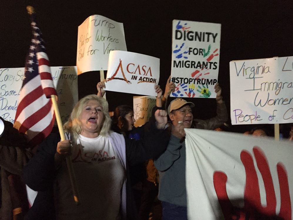 Protesters seen at the Manassas Donald Trump rally on Dec. 2, 2015. (WTOP/Michelle Basch)