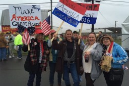 These Donald Trump supporters brought signs to the Manassas rally on Dec. 2, 2015. (WTOP/Michelle Basch)