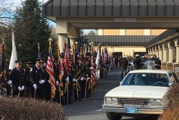 The funeral for 24-year-old Officer Noah Leotta was held Tuesday morning at Covenant Life Church in Gaithersburg, followed by burial at Judean Memorial Gardens in Olney. (WTOP/Kate Ryan)