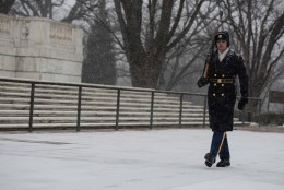 As a record breaking snow storm hits the Washington DC area Sentinels from the 3d U.S. Infantry Regiment (The Old Guard) continue to stand guard at the Tomb of the Unknown Soldier. (U.S. Army/Cpl. Cody W. Torkelson)