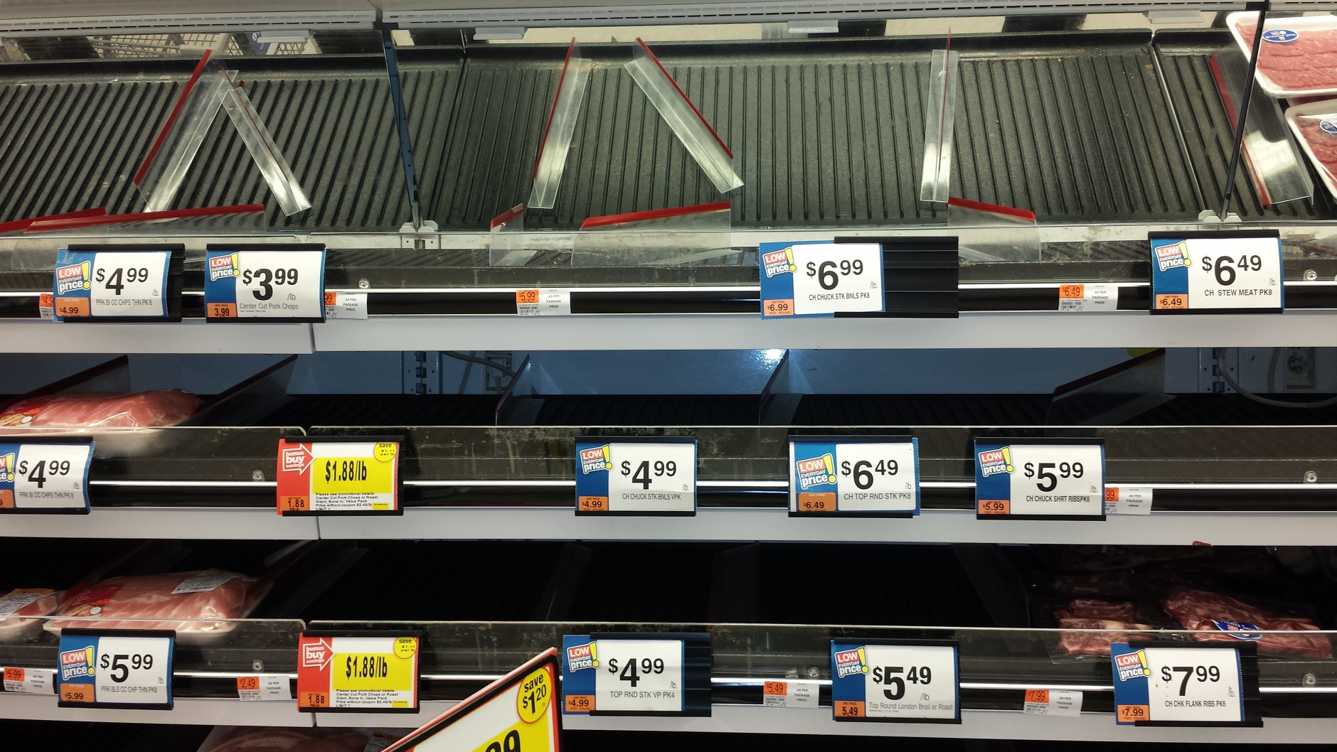 An Alexandria Giant sold out a number of meats as people prepare for the storm. (WTOP/Colleen Kelleher)