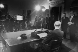 President Dwight D. Eisenhower presenting his farewell address to the Nation.  (Photo by Ed Clark/The LIFE Picture Collection/Getty Images)