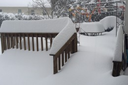 """9:00 Saturday morning. 13.5"""" on our deck in Gaithersburg and 12 more hours to go! (Courtesy WTOP listener)"""