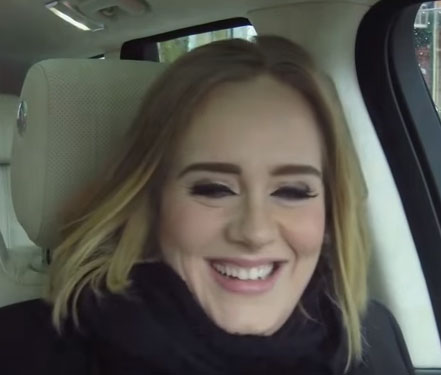 Adele takes her turn in Corden's passenger seat (Video)