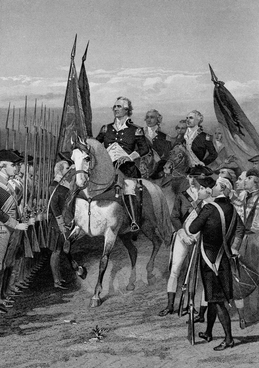 George Washington presents himself at head of army at Cambridge, Mass., on July 3, 1775. From Dorchester Heights, he laid siege to British in Boston. Latter evacuated city following March, taking garrison of 8,000 to New York.(AP Photo)