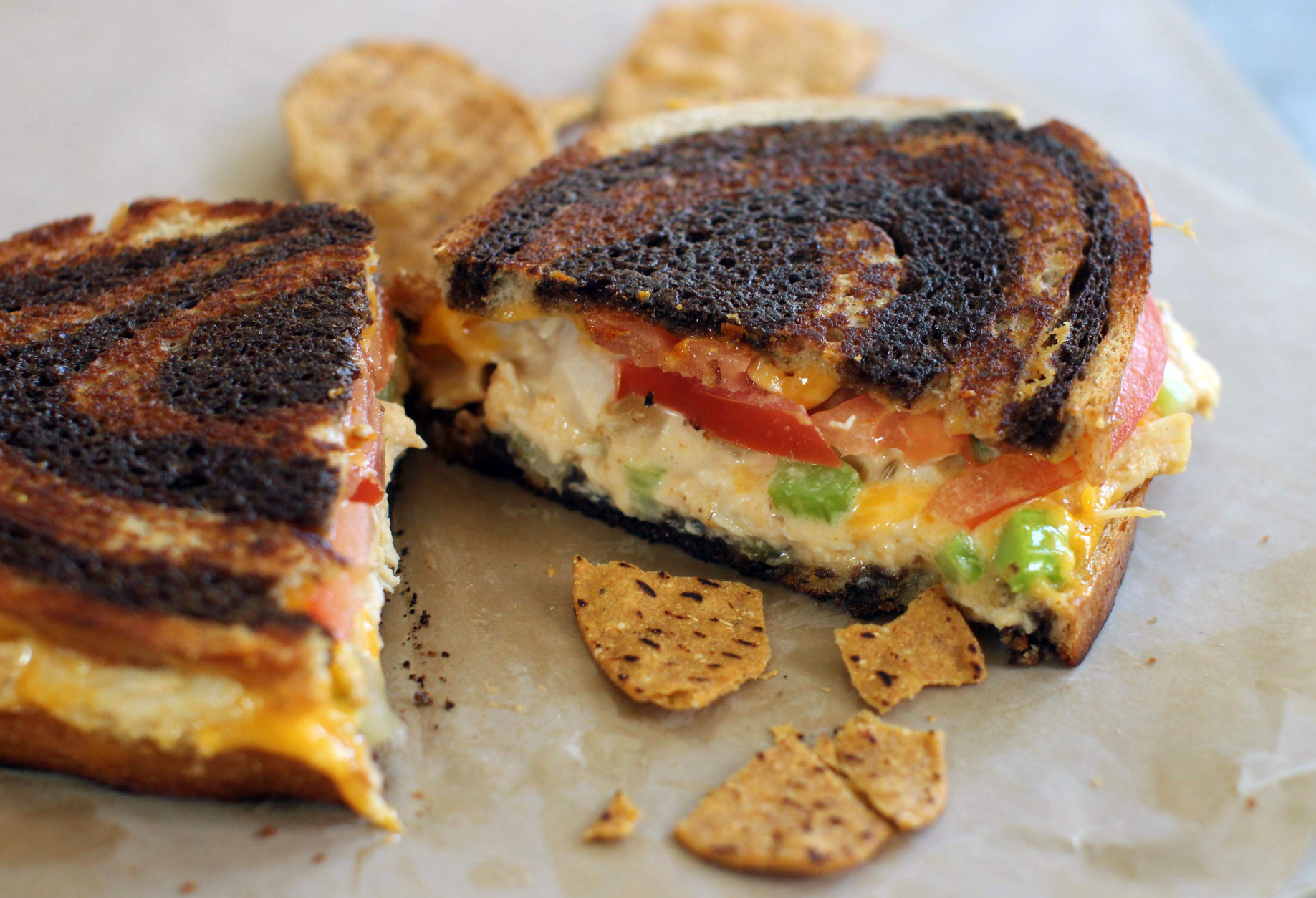 This photo taken June 22, 2015, shows griddled chicken salad sandwich on rye in Concord, NH. This dish is from a recipe by J.M. Hirsch. (AP Photo/Matthew Mead)