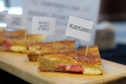 IMAGE DISTRIBUTED FOR ARLA FOODS - To celebrate National Grilled Cheese Month, cheese company Arla Dofino serves up signature Havarti, Gouda and braised beet grilled cheese sandwiches from Morris Truck, Wednesday, April 1, 2015 in New York.  For the recipe visit ArlaFoodsUSA.com/grilledcheese.  (Photo by Diane Bondareff/Invision for Arla Foods/AP Images)