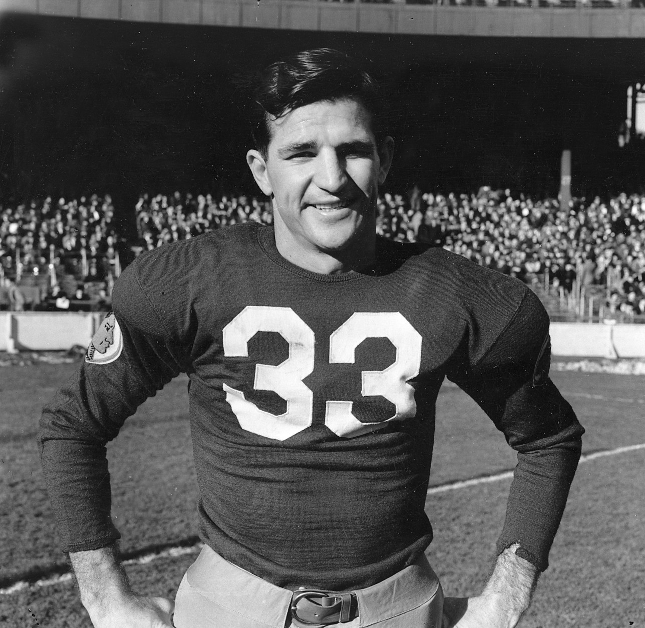 Sammy Baugh, quarterback for the Washington Redskins, poses at the Polo Grounds in New York City on Dec. 4, 1938.  (AP Photo)