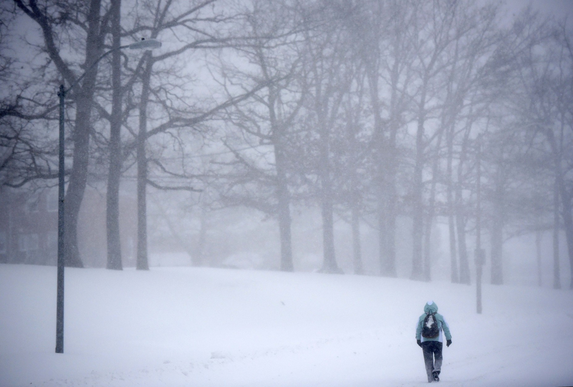 A pedestrian walks through snow in Parkville, Md., Saturday, Jan. 23, 2016. One in seven Americans will get at least half a foot of snow outside their homes when this weekend's big storm has finished delivering blizzards, gale-force winds, whiteout conditions and flooding to much of the eastern United States. (AP Photo/Steve Ruark)