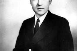This picture shows Vice President Richard Nixon as a World War II lieutenant commander in the U.S. Navy, stationed in August, 1944 at the Naval Air Station, Alameda, California.  Nixon had just returned to the United States under a rotation program from duty in the South Pacific as ground officer for the Combat Air Transport Command at Vella Lavella, Bougainville, Solomon Islands.  (AP Photo)