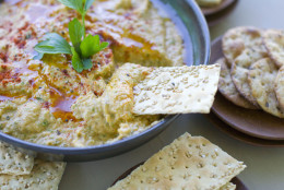 In this image taken on August 27, 2012, Grilled Zucchini Hummus is shown in Concord, N.H. (AP Photo/Matthew Mead)