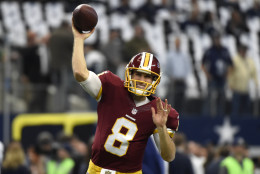 Washington Redskins quarterback Kirk Cousins throws a pass during warm ups before an NFL football game against the Dallas Cowboys on Sunday, Jan. 3, 2016, in Arlington , Texas. (AP Photo/Michael Ainsworth)