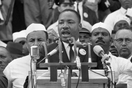 """Dr. Martin Luther King Jr., head of the Southern Christian Leadership Conference, addresses marchers during his """"I Have a Dream"""" speech at the Lincoln Memorial in Washington. The 45th anniversary of the iconic leader's most memorable speech coincides with the day when another African-American leader, Barack Obama, is scheduled to makes a historic speech of his own, accepting the Democratic Party's nomination for president of the United States Aug. 28, 2008, in Denver, Colo. (AP Photo/File) ** zu unserem Korr **"""