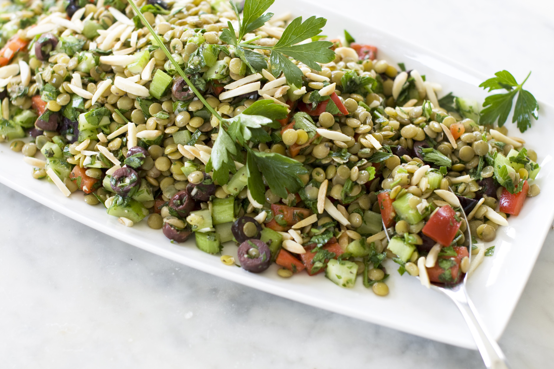 This July 29, 2013 photo shows lentil tabbouleh in Concord, N.H. (AP Photo/Matthew Mead)