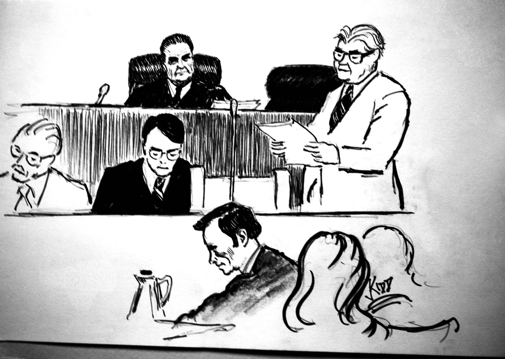 U.S. District Judge John Sirica, upper center, presides as court clerk James Capitanio, standing right, reads the jury's verdict in the Watergate cover-up trial in Washington  Wednesday, Jan. 1, 1975, in a drawing by Steven Kidd for the Associated Press. At lower center is James Neal, the special prosecutor. (AP Photo)