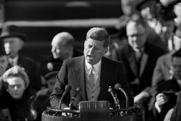 "After taking oath of office, U.S. President John F. Kennedy delivers his inaugural address at Capitol Hill in Washington, D.C., on Jan. 20, 1961. Kennedy said, ""We shall pay any price, bear any burden, meet any hardship, support any friend, oppose any foe, to assure the survival and success of liberty. (AP Photo)"