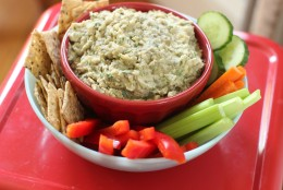 This May 18, 2015 photo shows chargrilled garlicky eggplant dip in Concord, N.H. (AP Photo/Matthew Mead)