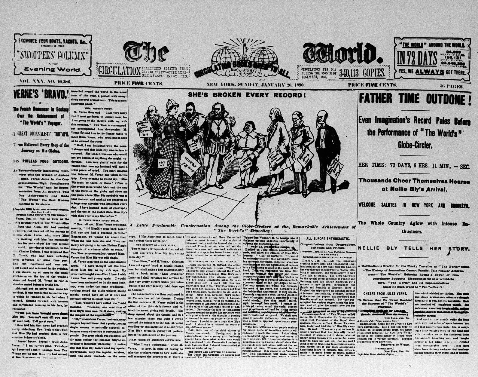 This is the front page of the New York World, from Jan. 26, 1890, headlining the global trip of World reporter Nellie Bly, in a record time of 72 days, 6 hours, 11 minutes, complete January 25.  Bly's exploits garnered all of the first three pages and a good portion of the others.  (AP Photo)