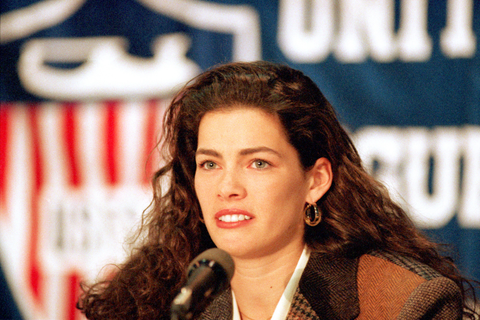 Nancy Kerrigan, of Stoneham, Mass., speaks during a news conference at the U.S. Figure Skating Championships in Detroit, Mich., on Friday, Jan. 7, 1994.  Kerrigan was clubbed on her right knee with a metal baton after a practice session at Cobo Arena on Jan. 6.  (AP Photo/Lennox McLendon)