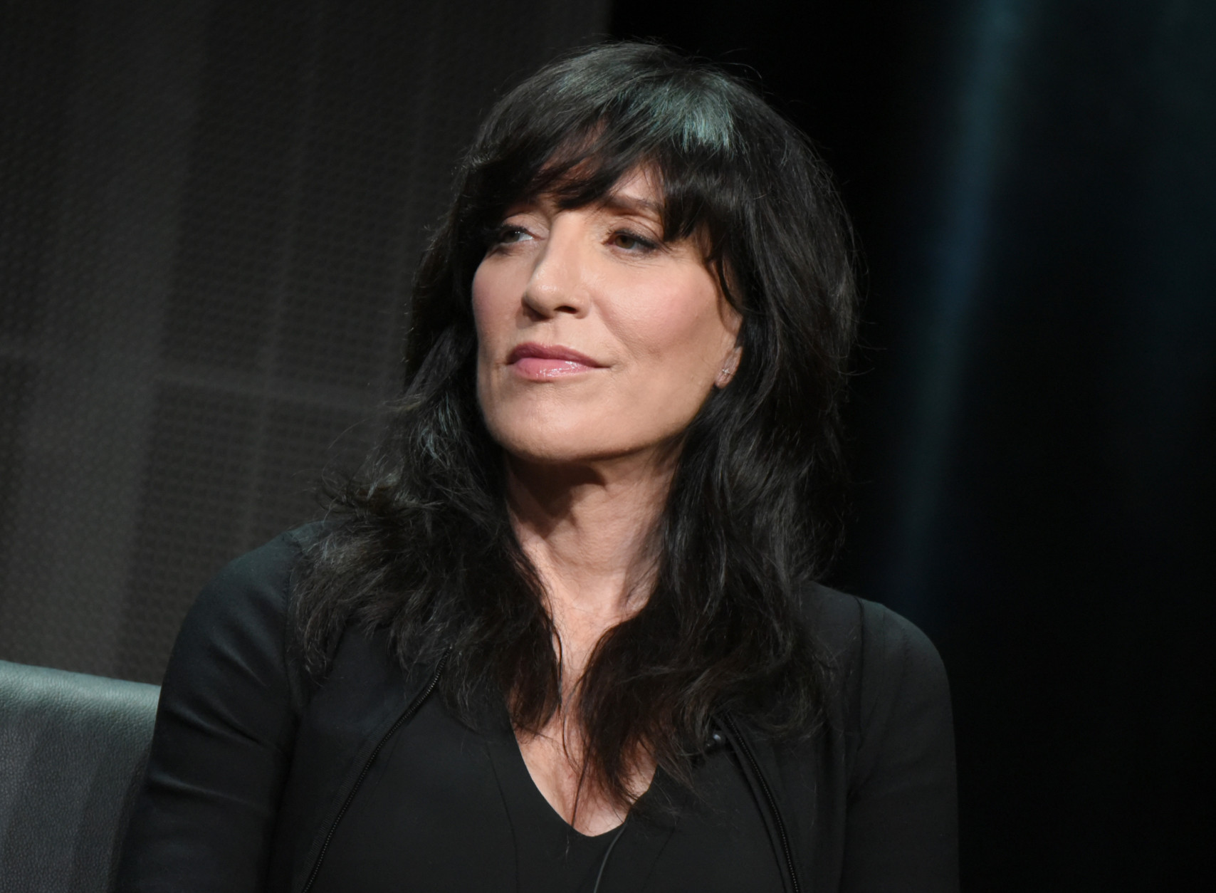 """Katey Sagal participates in """"The Bastard Executioner"""" panel at the FX Summer TCA Tour at the Beverly Hilton Hotel on Friday, Aug. 7, 2015, in Beverly Hills, Calif. (Photo by Richard Shotwell/Invision/AP)"""