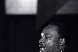 Dr. Martin Luther King Jr. makes his last public appearance at the Mason Temple in Memphis, Tenn., on April 3, 1968.  The following day King was assassinated on his motel balcony.  (AP Photo/Charles Kelly)