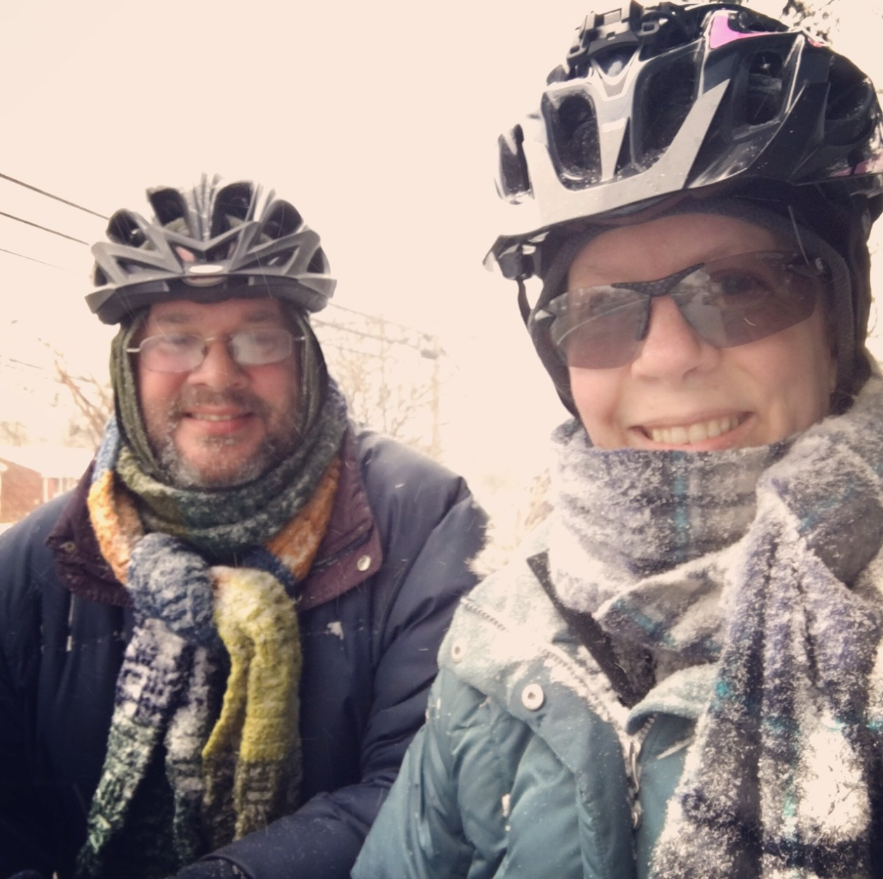 The WTOP listeners who sent us this photo say they managed to sneak in a ride in Prince George's County, Md. on Friday, Jan. 22, 2016, as snow began to blanket the greater D.C.-Metro region. (submitted photo)