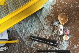 Debris is seen inside the Dolcezza Gelato Factory & Coffee Lab at Union Market after a crash on Jan. 9, 2016. (Courtesy NBC Washington)